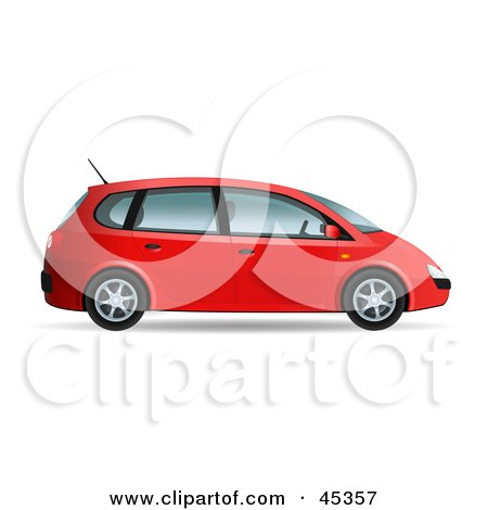 Royalty-free (RF) Clipart Illustration of a Red Compact Mini Van by Oligo