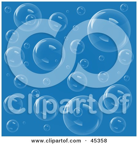 Royalty-free (RF) Clipart Illustration of a Blue Transparent Bubbly Background by Oligo