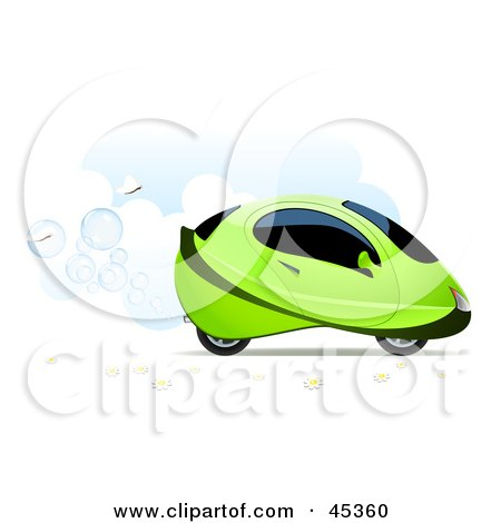 Royalty-free (RF) Clipart Illustration of White Butterflies Following A Bubbling Green Hydrogen Car In The Clouds by Oligo