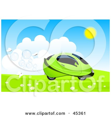 Royalty-free (RF) Clipart Illustration of White Butterflies Following A Futuristic Green Hydro Car Driving Through A Meadow by Oligo