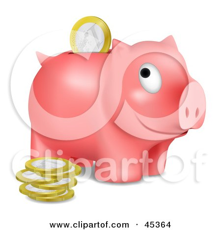 Royalty-free (RF) Clipart Illustration of a Grinning Pink Piggy Bank With Euros Being Inserted Through The Opening by Oligo