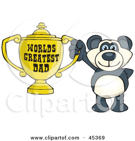 Royalty-free (RF) Clipart Illustration of a Panda Bear Character Holding A Golden Worlds Greatest Dad Trophy by Dennis Holmes Designs