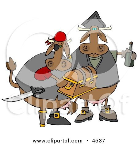 Cow Pirates Carrying Treasure Chest and Bottle of Rum Clipart by Dennis Cox