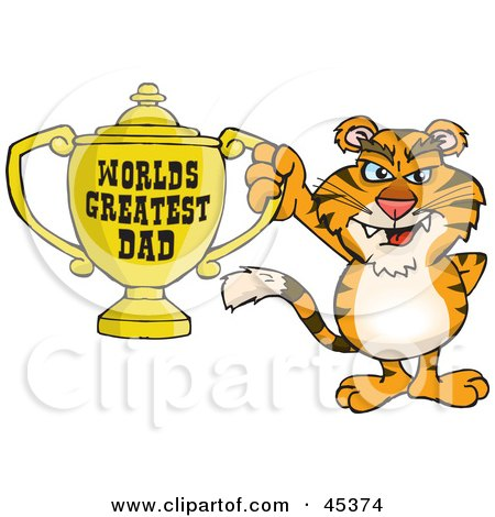 Royalty-free (RF) Clipart Illustration of a Tiger Wildcat Character Holding A Golden Worlds Greatest Dad Trophy by Dennis Holmes Designs