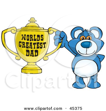Royalty-free (RF) Clipart Illustration of a Blue Teddy Bear Character Holding A Golden Worlds Greatest Dad Trophy by Dennis Holmes Designs