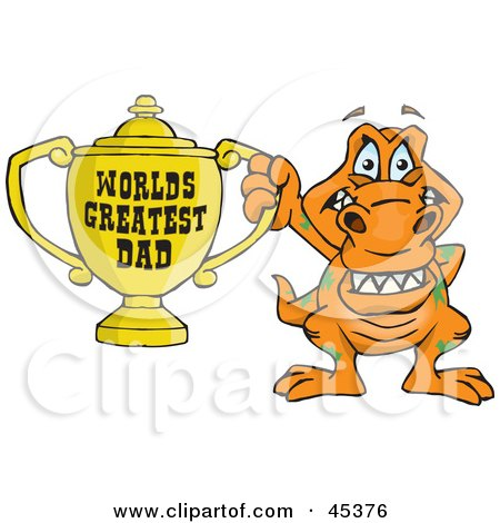 Royalty-free (RF) Clipart Illustration of a T Rex Dino Character Holding A Golden Worlds Greatest Dad Trophy by Dennis Holmes Designs