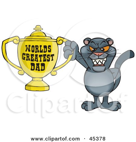Royalty-free (RF) Clipart Illustration of a Panther Wildcat Character Holding A Golden Worlds Greatest Dad Trophy by Dennis Holmes Designs