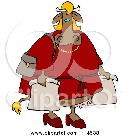 Female Cow On a Shopping Spree Clipart by djart