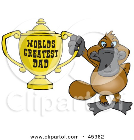Royalty-free (RF) Clipart Illustration of a Platypus Character Holding A Golden Worlds Greatest Dad Trophy by Dennis Holmes Designs