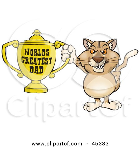 Royalty-free (RF) Clipart Illustration of a Puma Wildcat Character Holding A Golden Worlds Greatest Dad Trophy by Dennis Holmes Designs