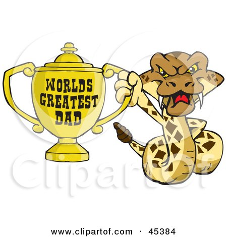 Royalty-free (RF) Clipart Illustration of a Rattlesnake Character Holding A Golden Worlds Greatest Dad Trophy by Dennis Holmes Designs