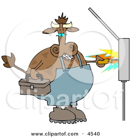 Cow Electrician Getting Shocked with Electricity Clipart by djart