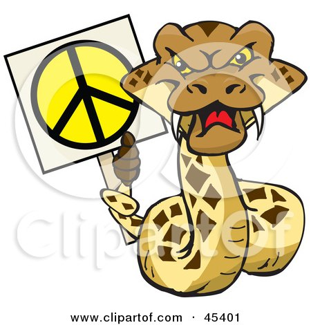 Royalty-free (RF) Clipart Illustration of a Peaceful Rattlesnake Character Holding A Peace Sign With His Tail by Dennis Holmes Designs