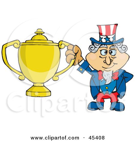Royalty-free (RF) Clipart Illustration of an Uncle Sam Character Holding A Golden Trophy by Dennis Holmes Designs