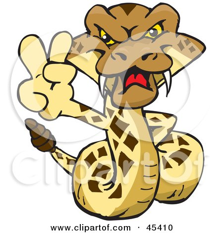 Royalty-free (RF) Clipart Illustration of a Peaceful Rattlesnake Character Gesturing A Peace Sign by Dennis Holmes Designs