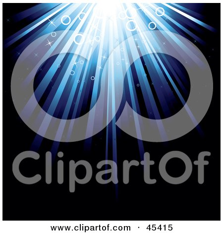 Royalty-Free (RF) Clipart Illustration of a Bright Burst Of Light Shining Down On A Dark Background With Circles by TA Images
