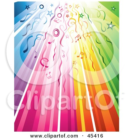 Royalty-Free (RF) Clipart Illustration of a Rainbow Party Background With Streamers, Circles, Stars And Music Notes by TA Images