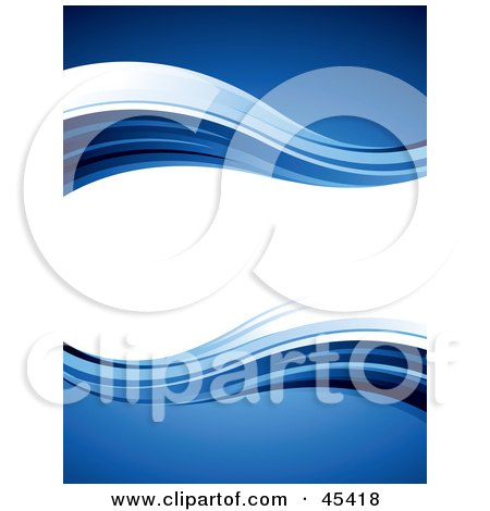 Royalty-Free (RF) Clipart Illustration of a Blank Wavy White Text Box Bordered In Blue Waves by TA Images