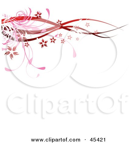 Royalty-Free (RF) Clipart Illustration of a Red Floral Border Of Waves, Grasses And Blooms by TA Images