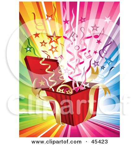 Royalty-Free (RF) Clipart Illustration of Streamers, Stars And Music Notes Bursting From A Present On A Rainbow Background by TA Images