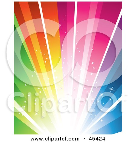 Royalty-Free (RF) Clipart Illustration of an Exploding Bright Rainbow Background  by TA Images