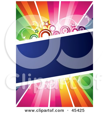 Royalty-Free (RF) Clipart Illustration of a Blue Diagonal Text Box With Stars And Circles, Spanning A Rainbow Background by TA Images