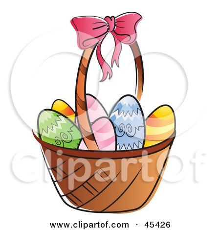 Royalty-Free (RF) Clipart Illustration of a Basket Of Chicken Eggs, Colored For Easter by TA Images