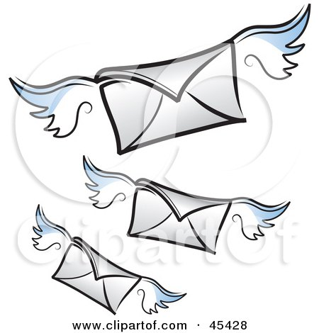 Royalty-Free (RF) Clipart Illustration of Three Flying Winged Air Mail Envelopes by TA Images