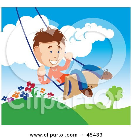 Royalty-Free (RF) Clipart Illustration of a Happy Young Boy Swinging Outdoors On A Summer Day by TA Images