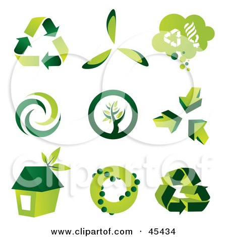 Royalty-Free (RF) Clipart Illustration of a Digital Collage of Green Eco Icons by TA Images