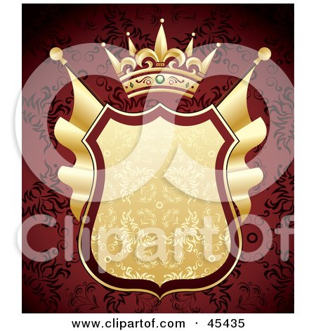 Royalty-Free (RF) Clipart Illustration of a Heraldic Golden Shield With A Crown On An Ornate Red Background by TA Images