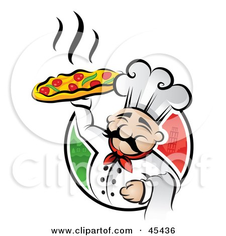 Royalty-Free (RF) Clipart Illustration of a Happy Chef Proudly Displaying A Hot Pizza Pie by TA Images