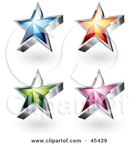 Royalty-Free (RF) Clipart Illustration of a Digital Collage of Colorful Star Icons by TA Images