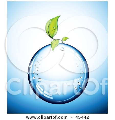Royalty-Free (RF) Clipart Illustration of a Small Green Plant Growing On A Pure Water Droplet by TA Images