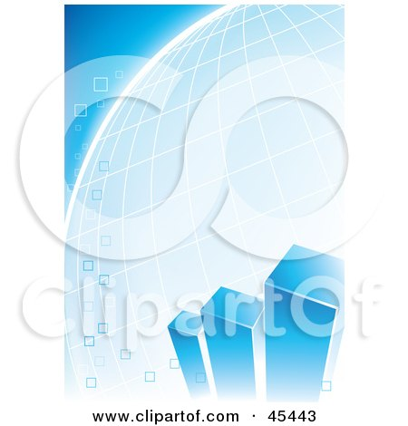 Royalty-Free (RF) Clipart Illustration of a Blue Bar Graph With Bubbles Over A Grid Globe by TA Images