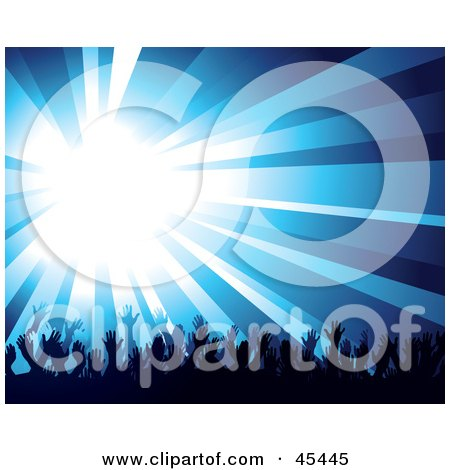 Royalty-Free (RF) Clipart Illustration of a Burst Of Bright Blue Light Over A Crowd Of Waving Hands by TA Images