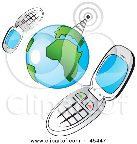 Royalty-Free (RF) Clipart Illustration of a Communications Tower Sending Signals To Two Networked Cellphones Around The Globe by TA Images
