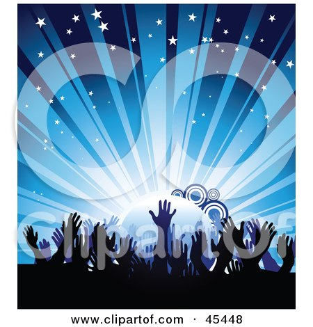 Royalty-Free (RF) Clipart Illustration of a Crowd Of Waving Hands Against A Bursting Blue Concert Background by TA Images
