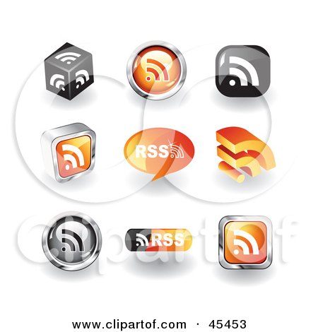 Royalty Free RF Clipart Illustration Of A Digital Collage Of RSS Icons
