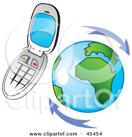 Royalty-Free (RF) Clipart Illustration of a Flip Cell Phone Hovering Around Planet Earth by TA Images