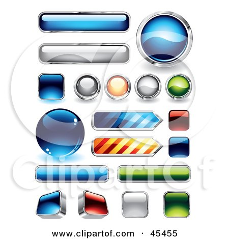 Royalty-Free (RF) Clipart Illustration of a Digital Collage of Reflective Web Buttons by TA Images