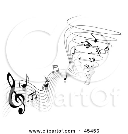 Black And White Notes And Sheet Music Spiraling Into A Tornado Posters, Art Prints