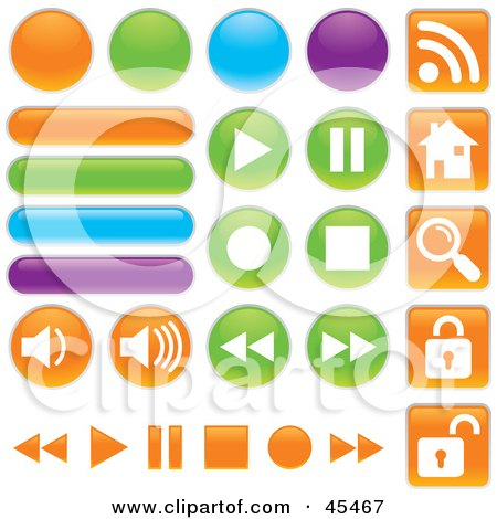 Royalty-Free (RF) Clipart Illustration of a Digital Collage Of Colorful Web Buttons In Different Shapes by John Schwegel