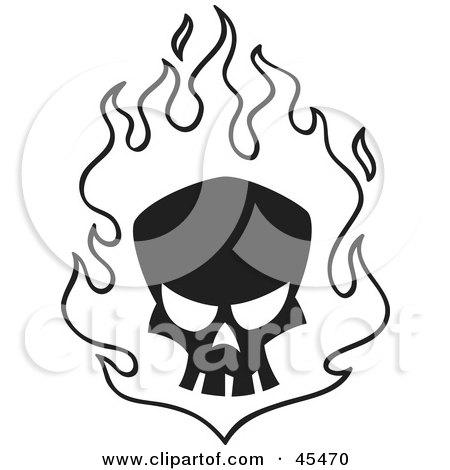 Royalty-Free (RF) Clipart Illustration of a Black Skull in White Flames by John Schwegel