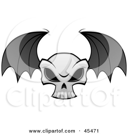 Royalty-Free (RF) Clipart Illustration of a Flying Evil Skull With Bat Wings by John Schwegel
