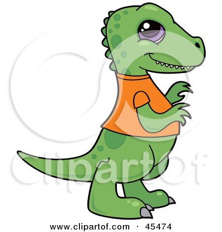 Royalty-Free (RF) Clipart Illustration of a Smiling Baby T Rex Dinosaur In An Orange Shirt by John Schwegel