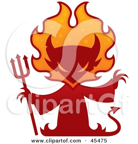 Royalty-Free (RF) Clipart Illustration of a Red Devil Silhouette With A Pitchfork And Flames by John Schwegel