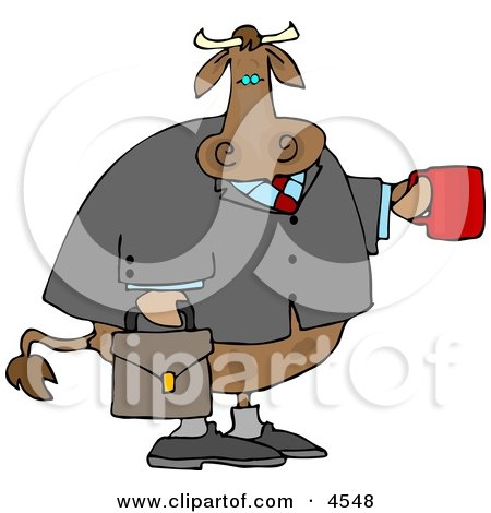 Business Cow Carrying a Briefcase and Holding a Cup of Coffee Clipart by djart