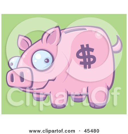 Royalty-Free (RF) Clipart Illustration of a Goofy Pink Piggy Bank With A Dollar Symbol On Its Side by John Schwegel