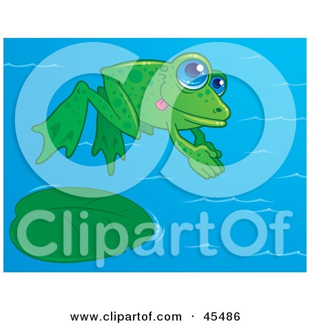 Royalty-Free (RF) Clipart Illustration of a Energetic Green Frog Diving Into A Pond by John Schwegel